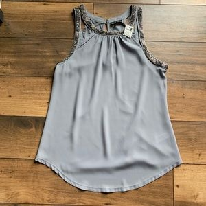 NWT Express gray top embellished neck